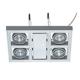 SLV Lighting Aixlight Square GU10 Ceiling & Wall Light Silver Grey 154252