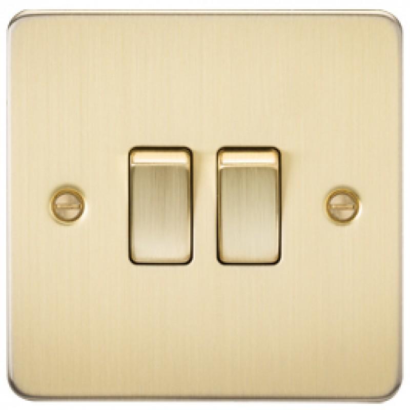 Knightsbridge FP3000BB 10A 2G 2 Way Switch Brushed Brass