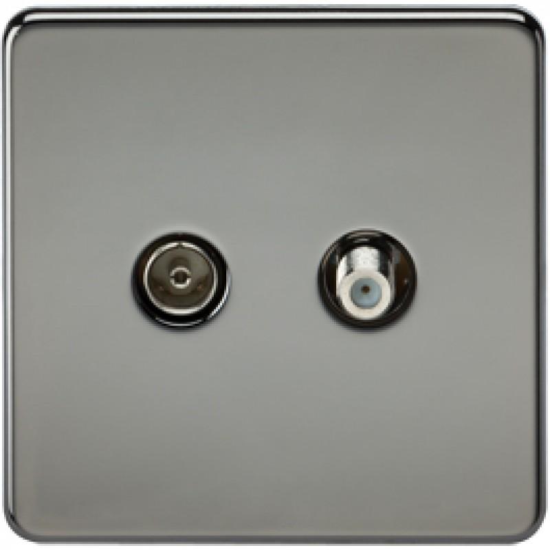 Knightsbridge SF0140BN 1G Sat/TV Outlet Isolated Black Nickel