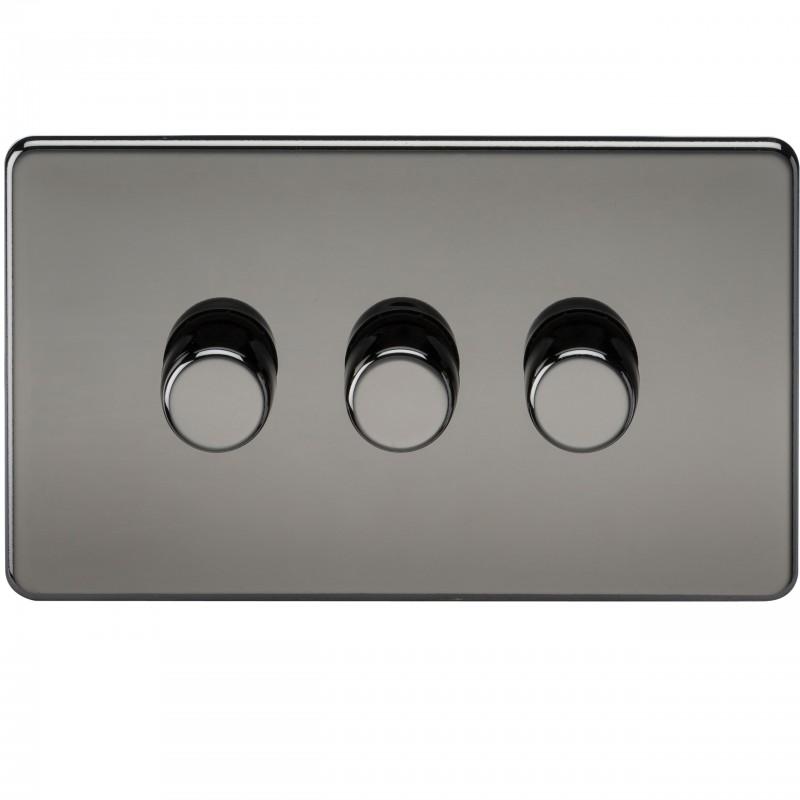 Knightsbridge SF2173BN Screwless 3G 2-Way 40-400W Dimmer Switch - Black Nickel
