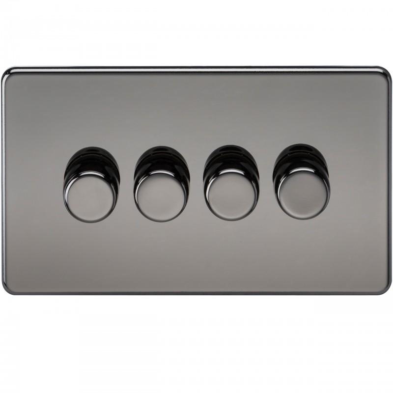 Knightsbridge SF2174BN Screwless 4G 2-Way 40-400W Dimmer Switch - Black Nickel