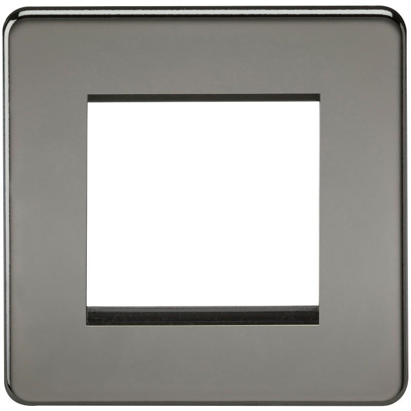 Knightsbridge SF2GBN Screwless 2G Modular Faceplate - Black Nickel