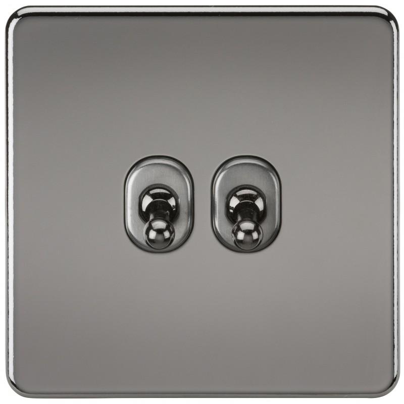 Knightsbridge SF2TOGBN Screwless 10A 2G 2-Way Toggle Switch - Black Nickel