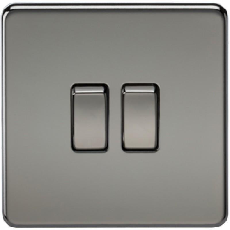 Knightsbridge SF3000BN 10A 2G 2 Way Switch Black Nickel