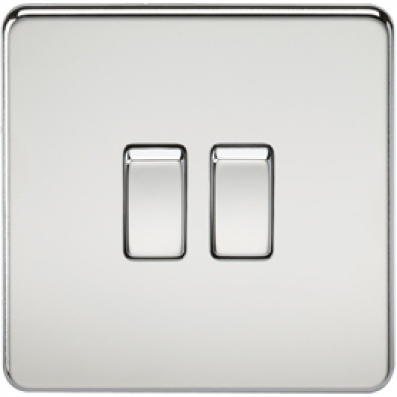 Knightsbridge SF3000PC 10A 2G 2 Way Switch Polished Chrome