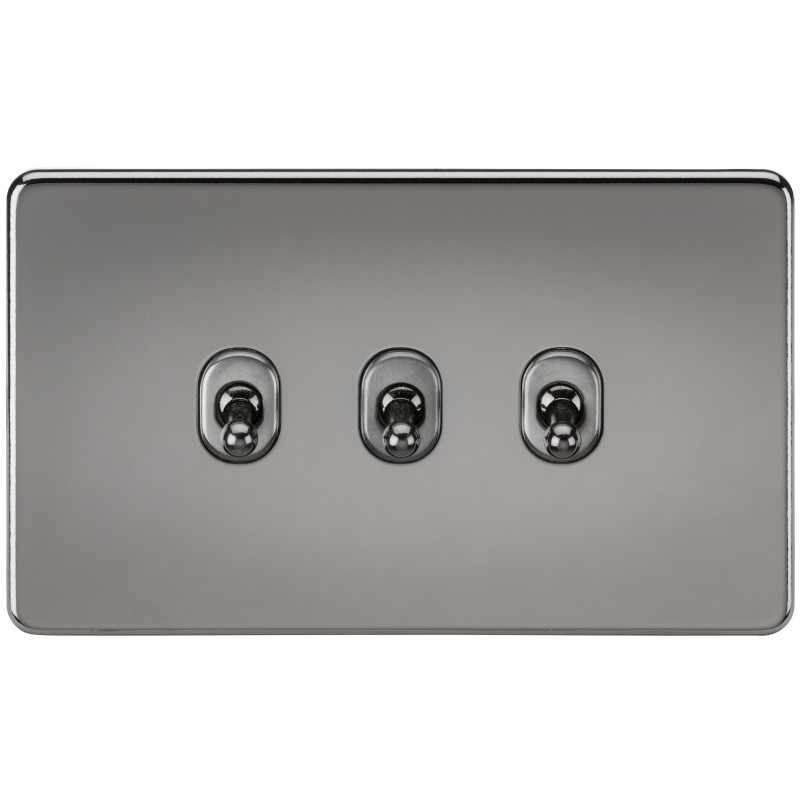 Knightsbridge SF3TOGBN Screwless 10A 3G 2-Way Toggle Switch - Black Nickel