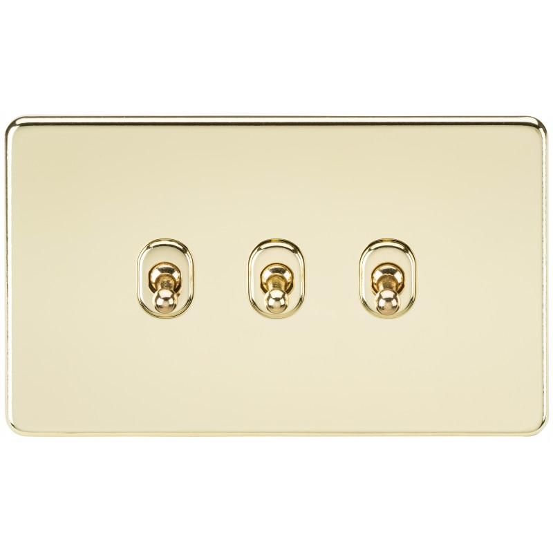 Knightsbridge SF3TOGPB Screwless 10A 3G 2-Way Toggle Switch - Polished Brass