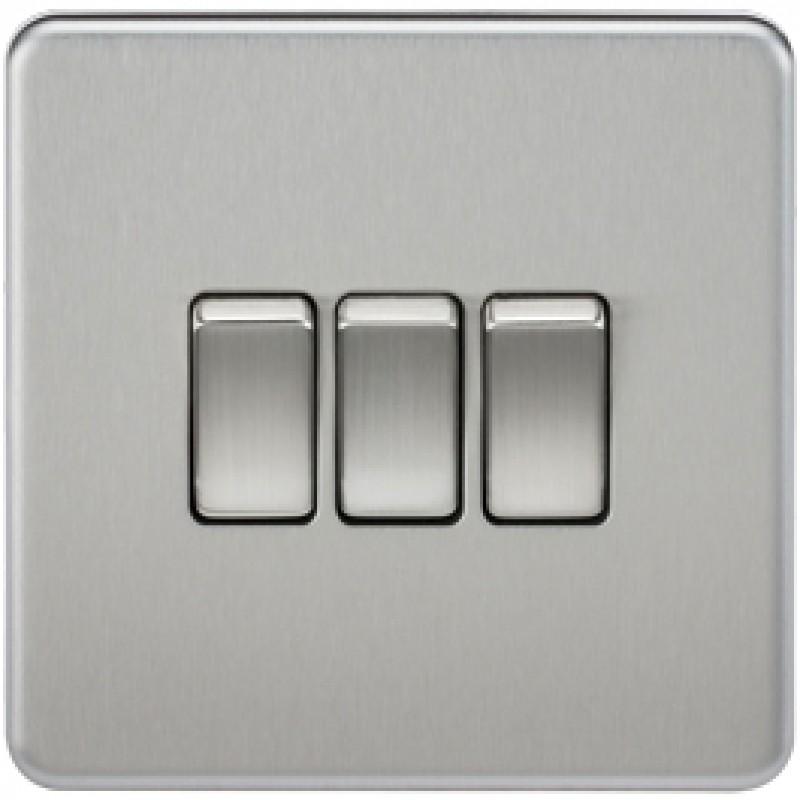 Knightsbridge SF4000BC 10A 3G 2 Way Switch Brushed Chrome