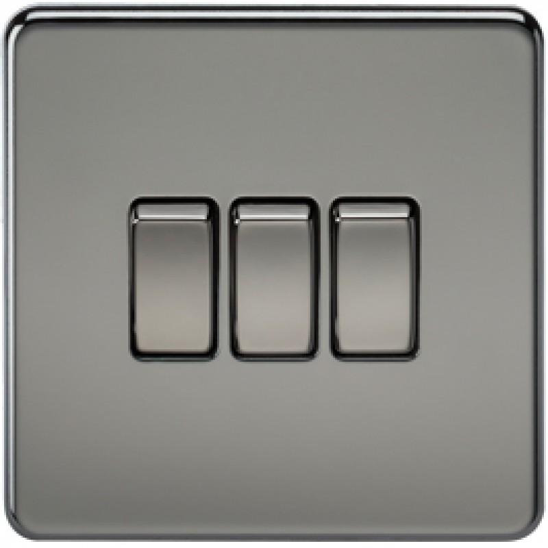 Knightsbridge SF4000BN 10A 3G 2 Way Switch Black Nickel