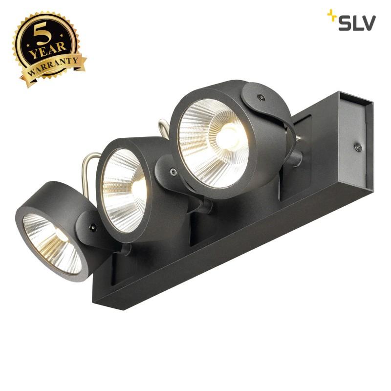 SLV 1000115 KALU LED 3 Wall and Ceiling luminaire, black, 3000K, 24°