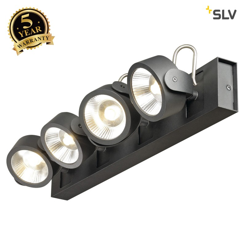 SLV 1000117 KALU LED 4 Wall and Ceiling luminaire, black, 3000K, 24°