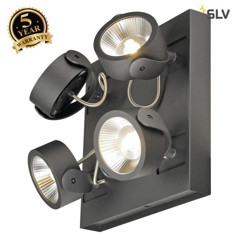 SLV 1000119 KALU LED 4 Wall and Ceiling luminaire, square, black, 3000K, 24°