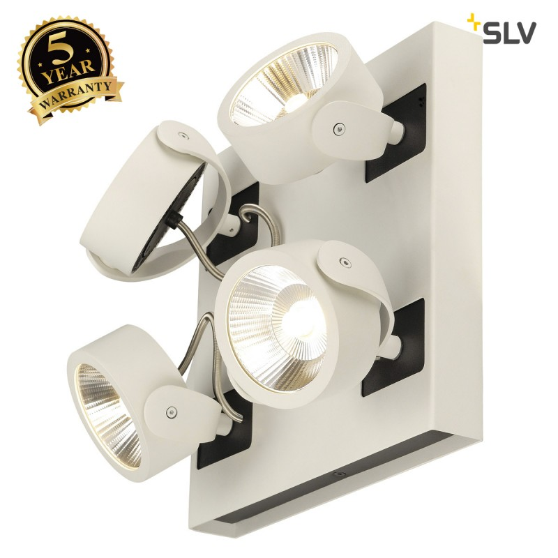 SLV 1000120 KALU LED 4 Wall and Ceiling luminaire, square, white/black, 3000K, 24°