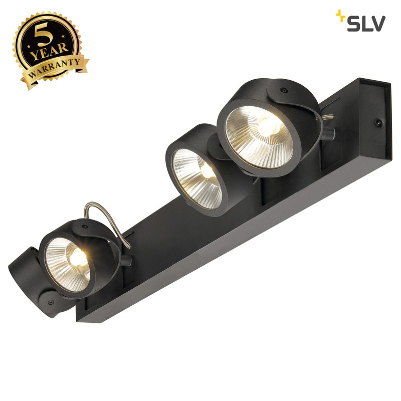 SLV 1000121 KALU LED 4 Wall and Ceiling luminaire, long, black, 3000K, 24°