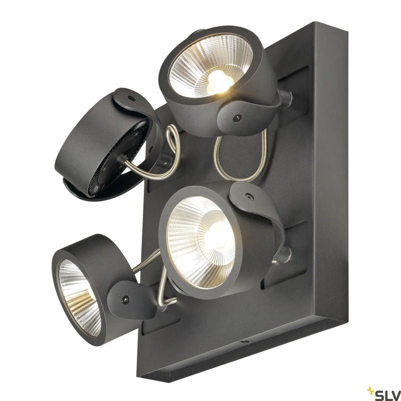 SLV 1000135 KALU LED 4 Wall and Ceiling luminaire, square, black, 3000K, 60°