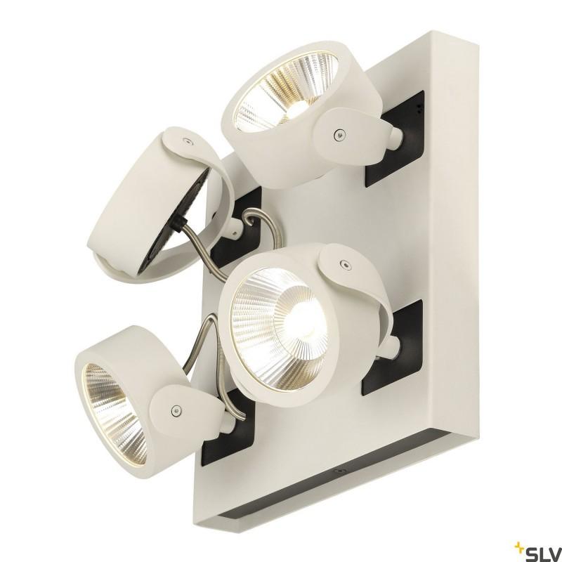 SLV 1000136 KALU LED 4 Wall and Ceiling luminaire, square, white/black, 3000K, 60°