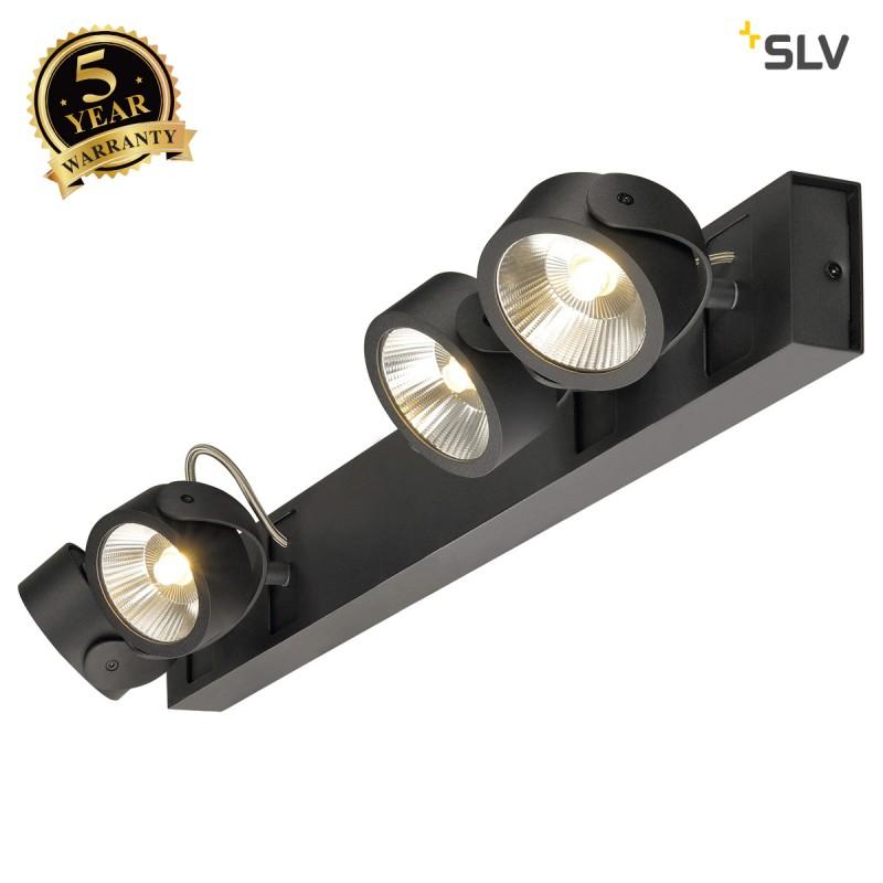 SLV 1000137 KALU LED 4 Wall and Ceiling luminaire, long, black, 3000K, 60°