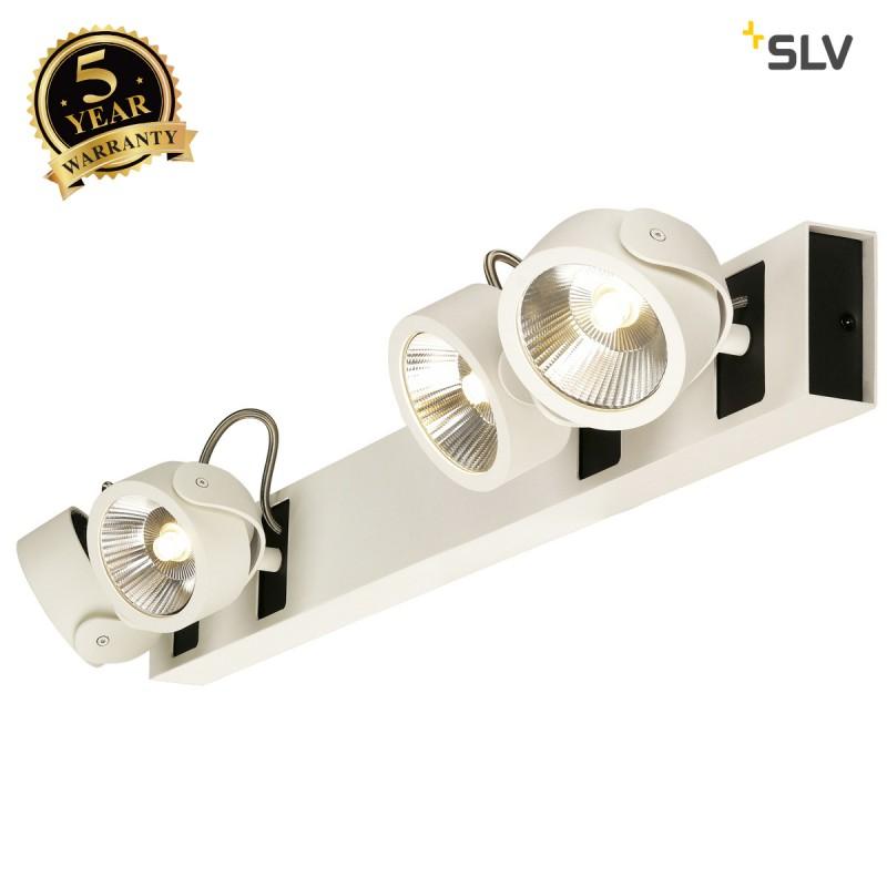 SLV 1000138 KALU LED 4 Wall and Ceiling luminaire, long, white/black, 3000K, 60°