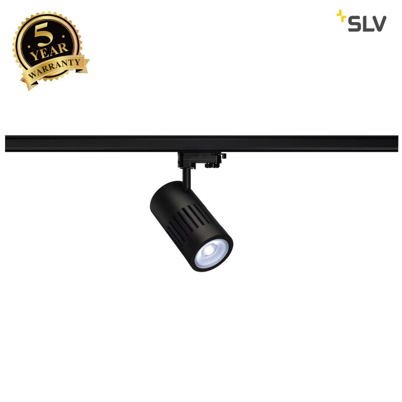 SLV 1001001 STRUCTEC LED spot for 3-circuit 240V track, 30W, 4000K, 60°, black, incl. 3-circuit adapter