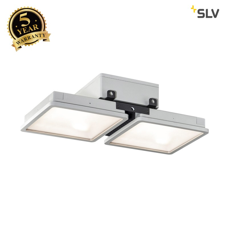 Intalite 1002193I ALMINO PD, double, LED outdoor surface-mounted ceiling light, UGR<19 grey IP65 4000K
