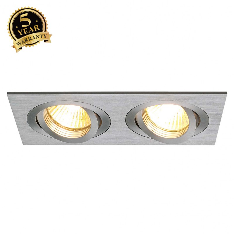 SLV 111352 NEW TRIA II MR16 downlight,rectangular, alu brushed, max.2x50W, incl. clip springs
