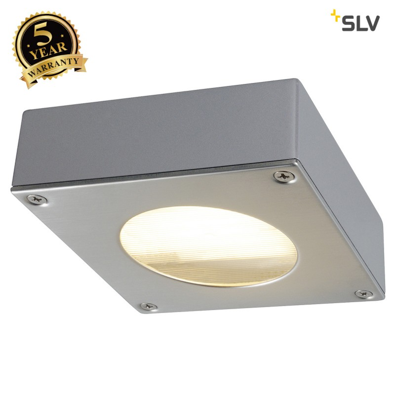 SLV 111482 QUADRASYL 44D outdoor fitting,square, silver-grey, GX53,max. 9W