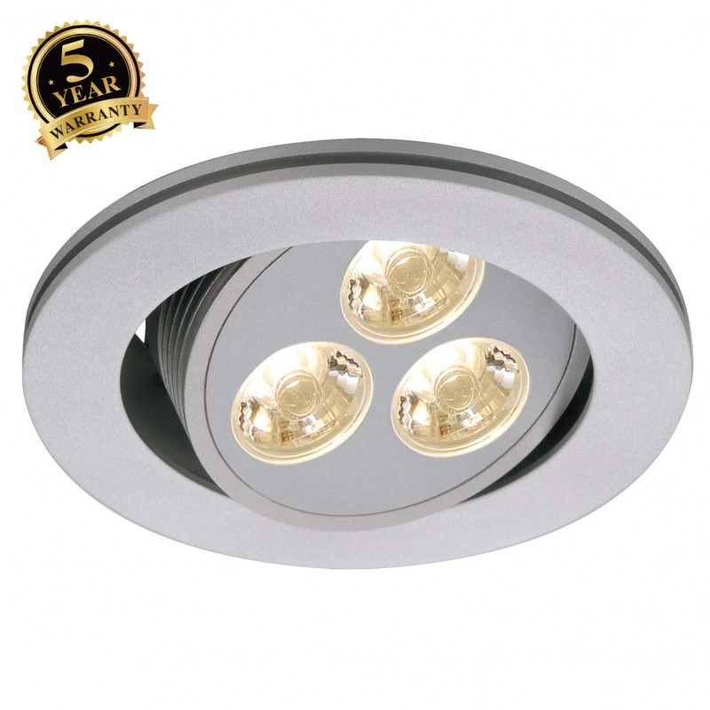 SLV 111852 TRITON 3 LED downlight, round,silver-grey, 3x1W LED,adjustable, 3200K