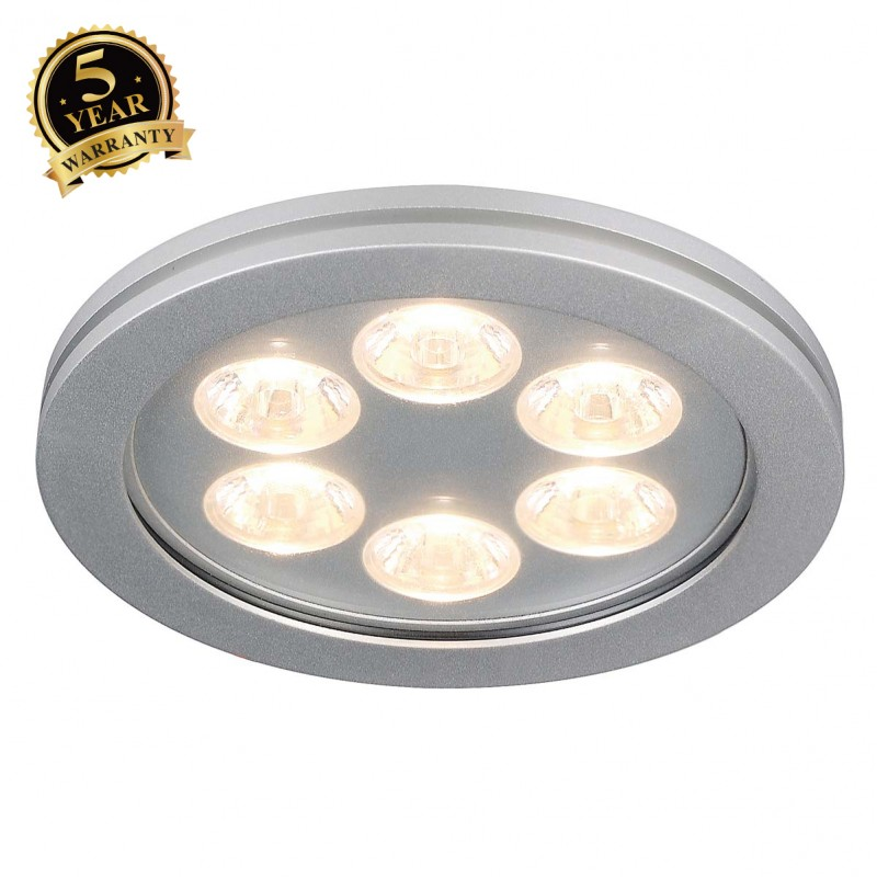 SLV 111992 EYEDOWN LED 6x1W downlight,round, alu, warm white, 3000K