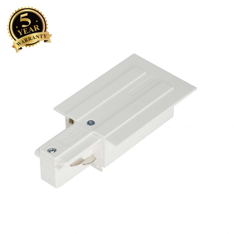 SLV 145541 EUTRAC feed-in for 3-circuitrecessed track, white, earthleft