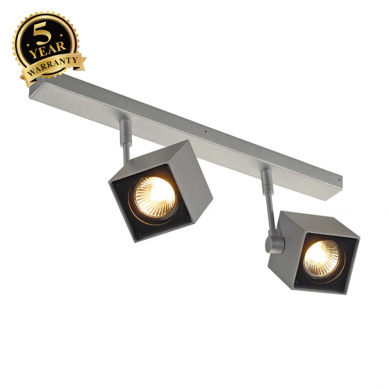 SLV 151174 ALTRA DICE 2 ceiling light,square spots,silver-grey/black, 2x GU10,