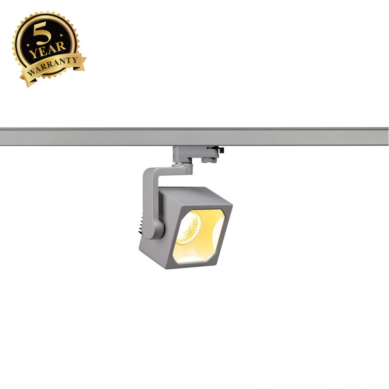 SLV 152744 EURO CUBE SPOT, silver-grey,30°, 3000K COB LED, CRI90,incl. 3-circuit adapter