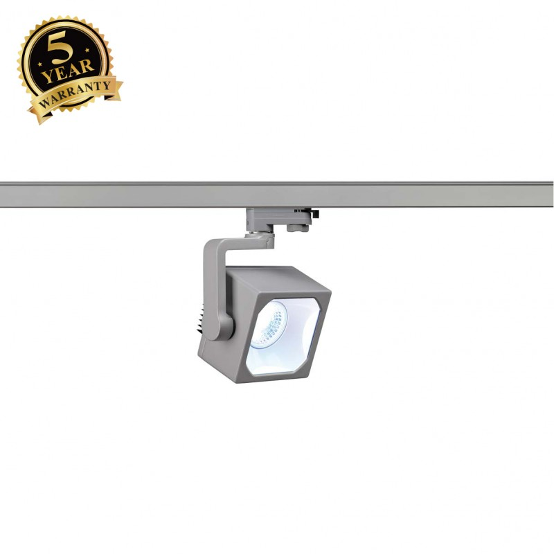 SLV 152774 EURO CUBE SPOT, silver-grey,30°, 4000K COB LED, CRI90,incl. 3-circuit adapter