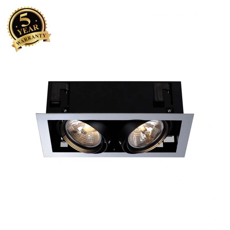 SLV 154632 AIXLIGHT FLAT DOUBLE QRB111recessed ceiling light, chrome/black, 2x G53, max. 2x50W