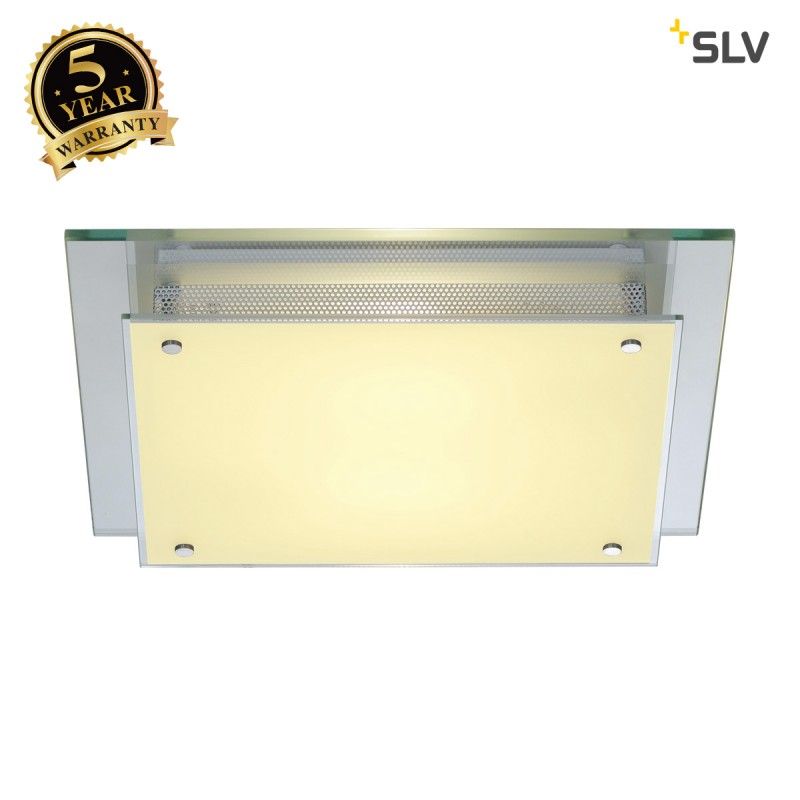 SLV 155180 GLASSA SQUARE E27 ceiling light, frosted glass, 2x E27, max. 2x 60W