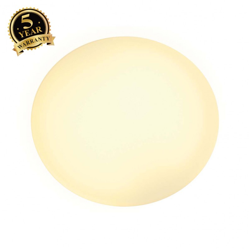 SLV 155250 WL 104 E27 wall light, round,white glass, max. 60W