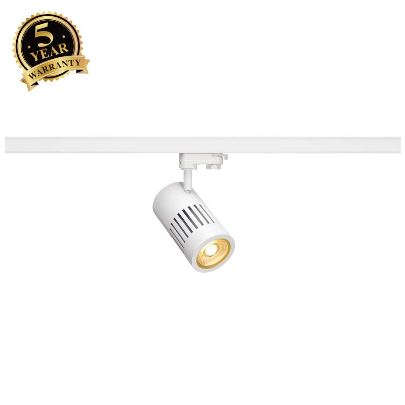 SLV 1000981 STRUCTEC LED Spot for 3 Phase High-voltage Tracksystem, 24W, 3000K, 36°, white, incl. 3 Phasen Adapter