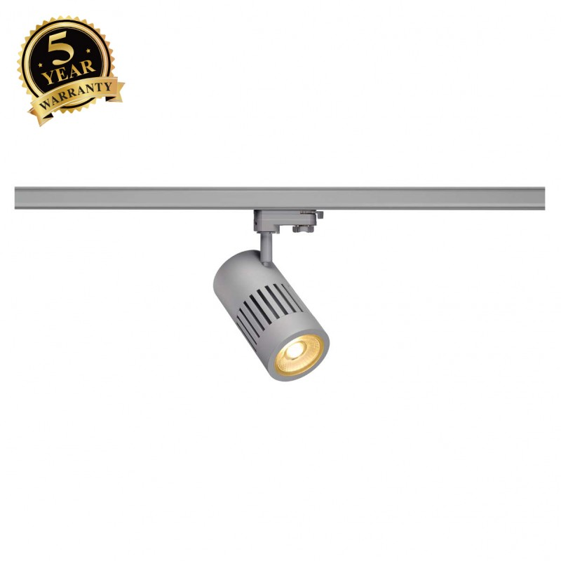SLV 1000982 STRUCTEC LED Spot for 3 Phase High-voltage Tracksystem, 24W, 3000K, 36°, silvergrey, incl. 3 Phasen Adapter