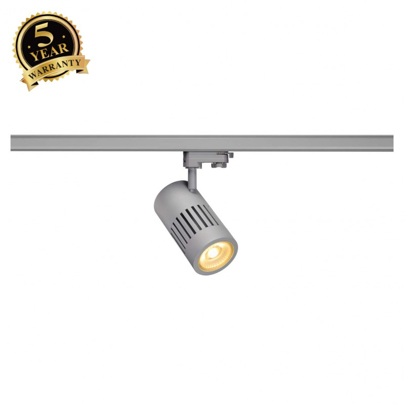 SLV 1000985 STRUCTEC LED Spot for 3 Phase High-voltage Tracksystem, 24W, 3000K, 60°, silvergrey, incl. 3 Phasen Adapter