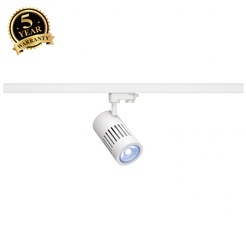 SLV 1000990 STRUCTEC LED Spot for 3 Phase High-voltage Tracksystem, 24W, 4000K, 60°, white, incl. 3 Phasen Adapter