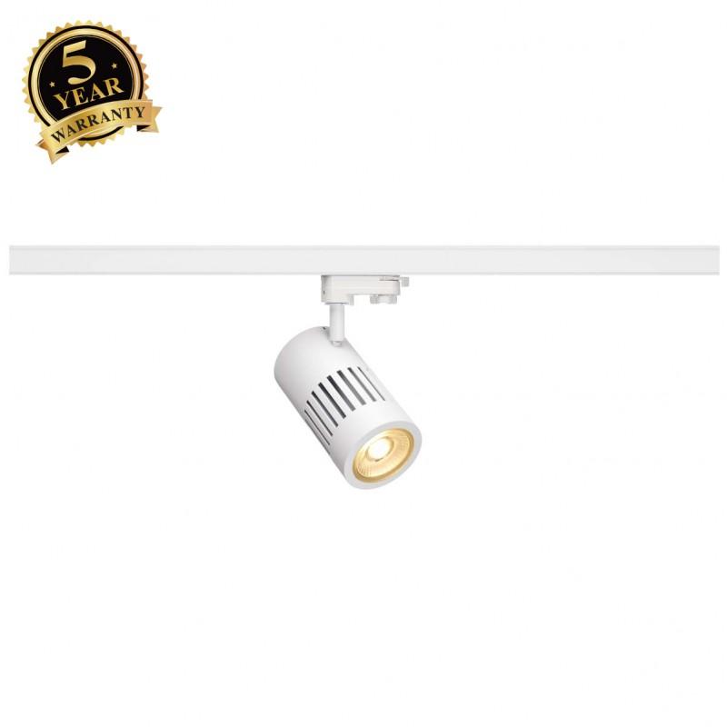 SLV 1000993 STRUCTEC LED Spot for 3 Phase High-voltage Tracksystem, 30W, 3000K, 36°, white, incl. 3 Phasen Adapter