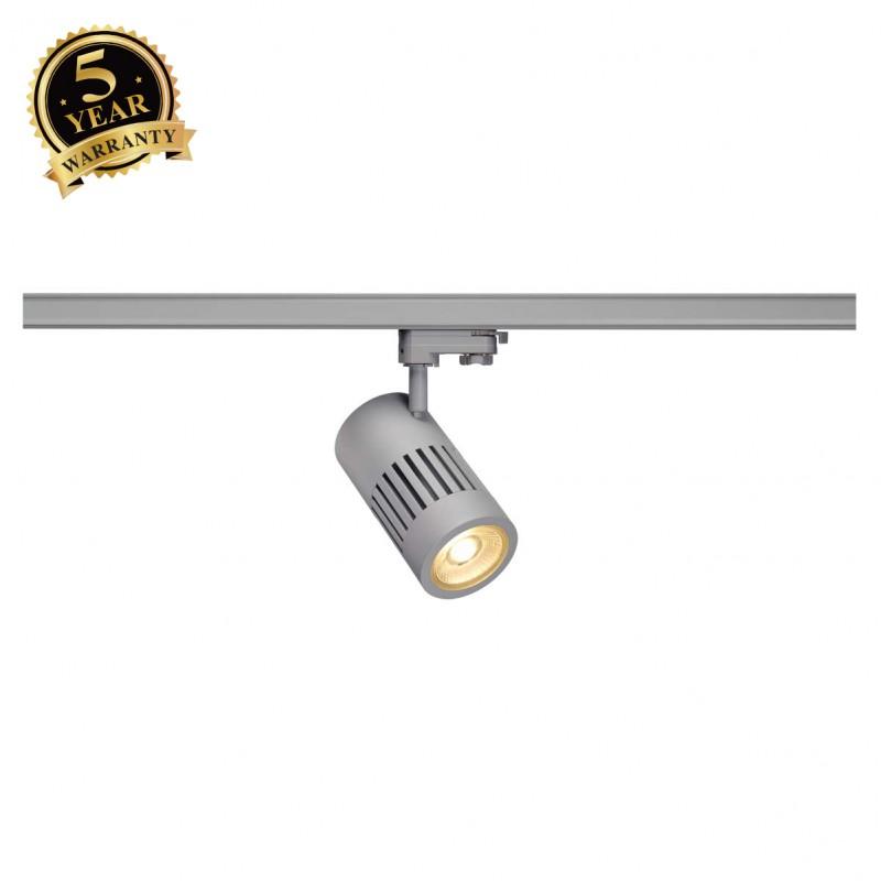 SLV 1000994 STRUCTEC LED Spot for 3 Phase High-voltage Tracksystem, 30W, 3000K, 36°, silvergrey, incl. 3 Phasen Adapter