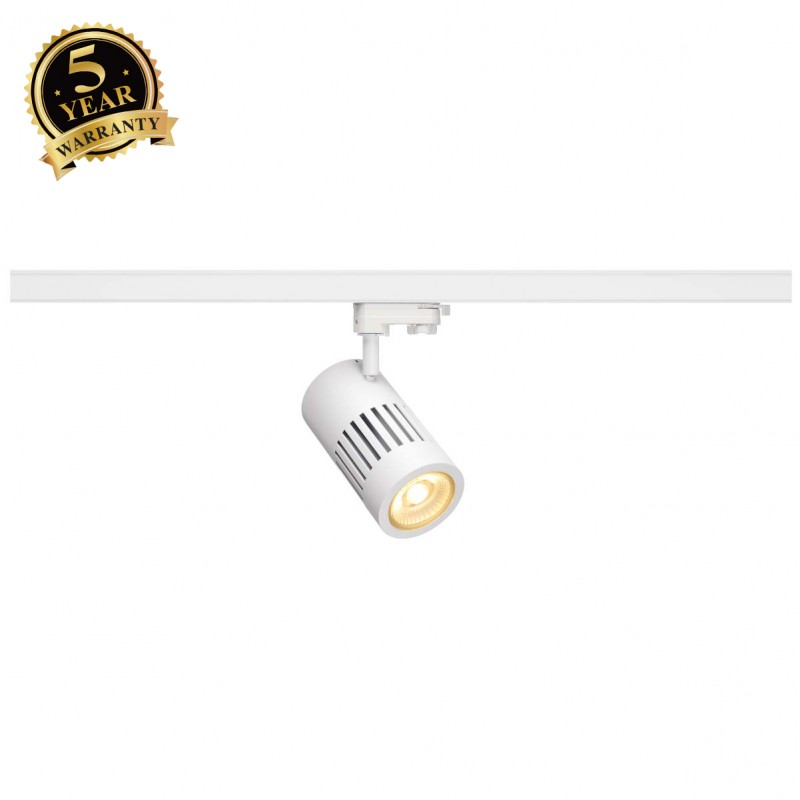 SLV 1000996 STRUCTEC LED Spot for 3 Phase High-voltage Tracksystem, 30W, 3000K, 60°, white, incl. 3 Phasen Adapter