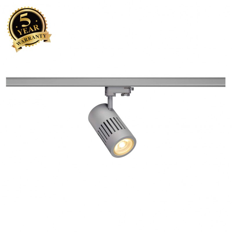 SLV 1000997 STRUCTEC LED Spot for 3 Phase High-voltage Tracksystem, 30W, 3000K, 60°, silvergrey, incl. 3 Phasen Adapter