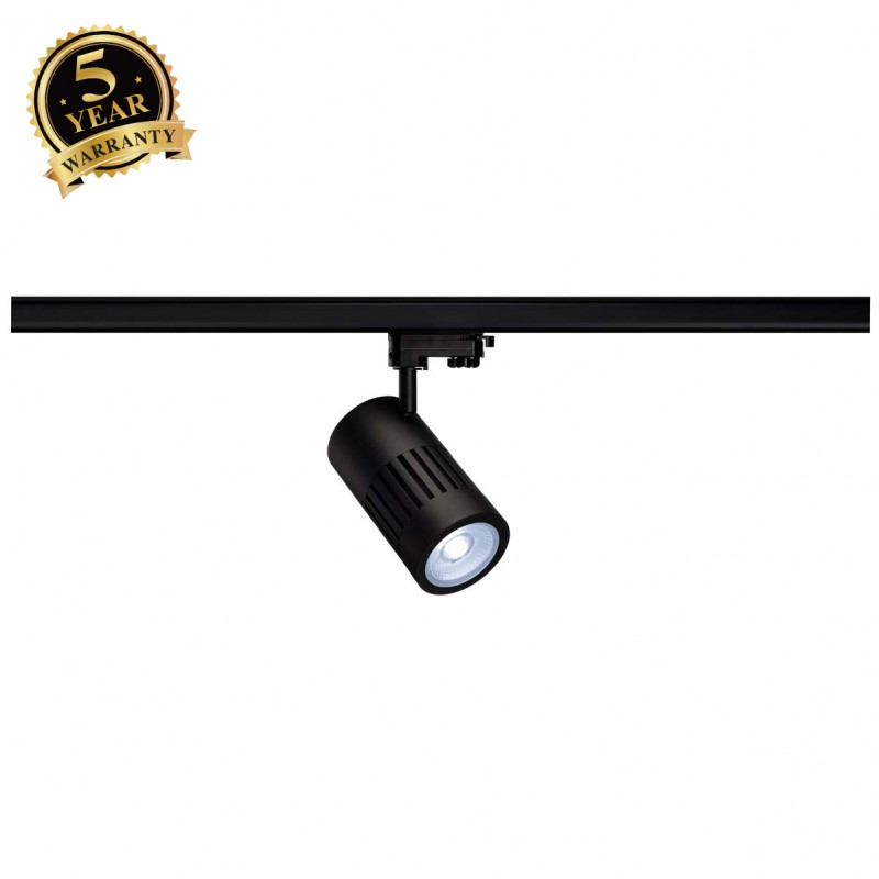 SLV 1000998 STRUCTEC LED Spot for 3 Phase High-voltage Tracksystem, 30W, 4000K, 36°, black, incl. 3 Phasen Adapter