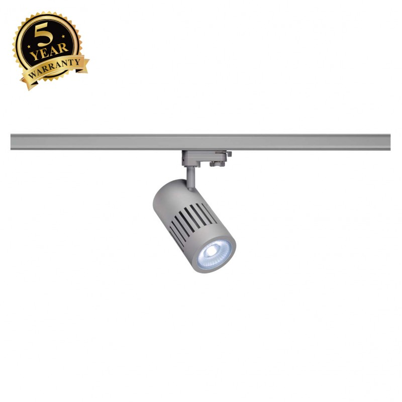 SLV 1001003 STRUCTEC LED Spot for 3 Phase High-voltage Tracksystem, 30W, 4000K, 60°, silvergrey, incl. 3 Phasen Adapter