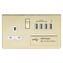 Knightsbridge SFR7USB4PBW Screwless 13A switched socket with quad USB charger (5.1A) - polished brass with white insert